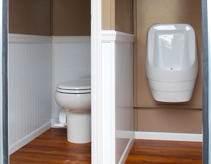 Flushing Toilets and Waterless Urinals in our Luxury Restroom Trailers. Portable Restroom Trailers   Deluxe VIP Toilet Trailers   Elegant